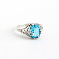 Antique Art Deco Sterling Silver Simulated Topaz Ring - Vintage 1920s Size 5 Blue Glass Stone Filigree Dainty Floral Flower Jewelry