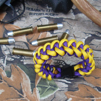 Paracord Bracelet ~ Shark Tooth Weave ~ Golden Yellow and Purple ~ L S U / Lakers Inspired  **FREE USA SHIPPING**