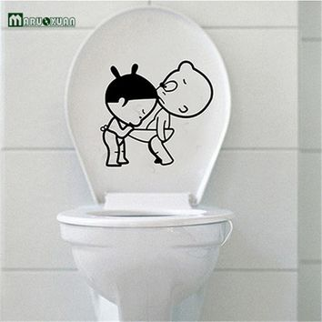 New Funny bathroom decro Home Decoration Creative Toilet stickers Cute Kids Wall Sticker