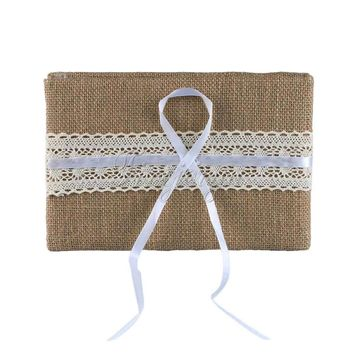 Jute Burlap Wedding Guest Book With Lace Ribbons
