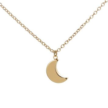 SMJEL 2017 New Gold Color Minimalist Crescent Moon Necklace Plain Half Moon Pendant Necklaces for Women Long Gifts N187