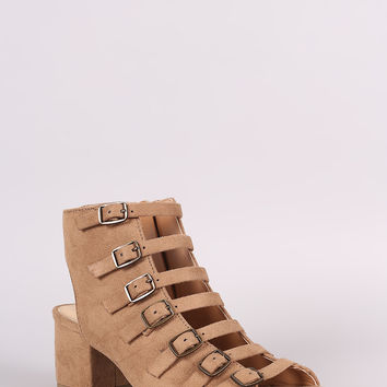 City Classified Buckle Straps Block Heel