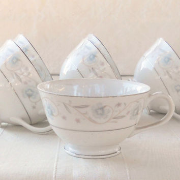 Vintage English Garden Platinum by Fine China of Japan Tea Cups, Set of 6, Wedding, Tea Party, Orphan Tea Cups