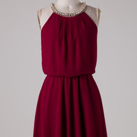 Wine Dress with Rhinestone Detail