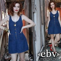 Vintage 70s Denim Shorts Romper S M