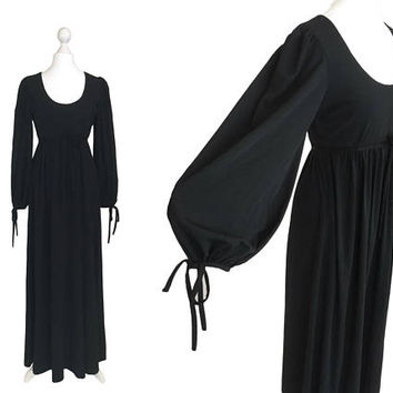 Gina Fratini Maxi Dress | Designer Dress | 1970's Vintage Dress | Long Black Dress With Bishop Sleeves