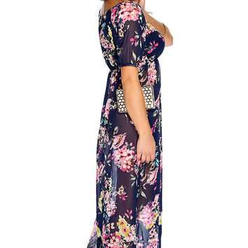 Sexy Navy Floral Print Lightweight Fabric Short Sleeve Maxi Dress