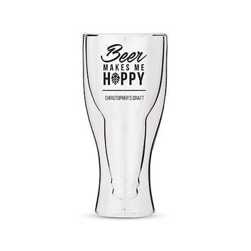 Personalized Double Walled Beer Glass Beer Makes Me Hoppy Print (Pack of 1)