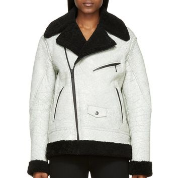 Blk Dnm White And Black Cracked Leather Shearling Biker Jacket