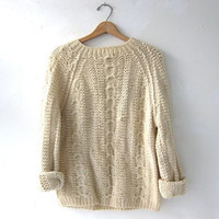 STOREWIDE SALE... vintage wool sweater. fisherman's sweater. handmade sweater.