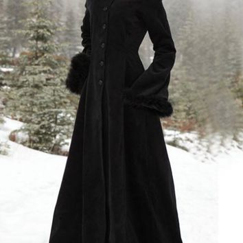 New Black Single Breasted Hooded Flare Sleeve Vintage Trench Coat