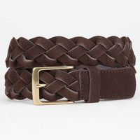 Braided Suede Mens Belt Brown  In Sizes