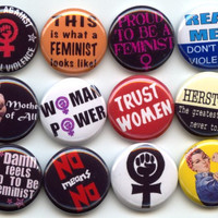 "FEMINIST Feminism Equal Rights 12 Pinback 1"" Buttons Badges Pins"