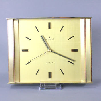 Vintage Mid Century Wall Clock Brass by JUNGHANS Large West German 1960's Modernist