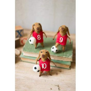 Set Of 3 Felt Dog Soccer Players