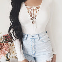 Jojo Lace Up Bodysuit (WHITE)