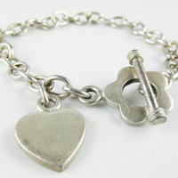 Vintage Sterling Toggle Bracelet with Flower and Heart Charm