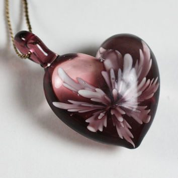 Lavender Murano Glass Heart Pendant Necklace Vintage