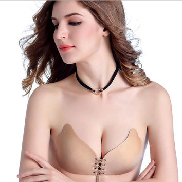 Fashion Silicone Strapless Push Up Bra Intimate Invisible Adhesive Stick Chest Stickers Pull Rope Gathering Underwear Bra Clasps