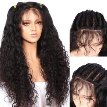 AL Pre-Plucked 100% Human Hair - Remy Brazilian Kinky Curly Full Lace Wig w/Baby Hair