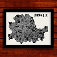 London Map Art City Print, 18 x 24