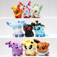"5"" Pokemon Plush Toys 8 styles Umbreon Eevee Espeon Jolteon Vaporeon Flareon Glaceon Leafeon pikachu Soft Stuffed Plush Animals"
