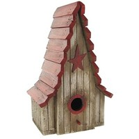 Rustic White Birdhouse with Red Roof & Star | Shop Hobby Lobby