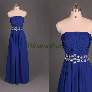Unique long chiffon Bridesmaid Dress with sequins and rhinestone affordable elegant evening gowns modern strapless dress for wedding party