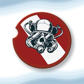 Diver Skull Red No Text Car Cup Holder Coasters Sandstone (Set of 2)