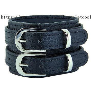 10% Off Discount Fashion Cool Leather Jewelry Cuff Brown Leather Bracelet Women Or Men Bangle Bracelet  845a Bl