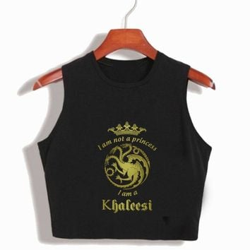 I'm Not A Princess I'm A Khaleesi Womens Summer Crop Tops Game of Thrones Cotton T-Shirts Funny 90S Sexy Movie Cropped T Shirt