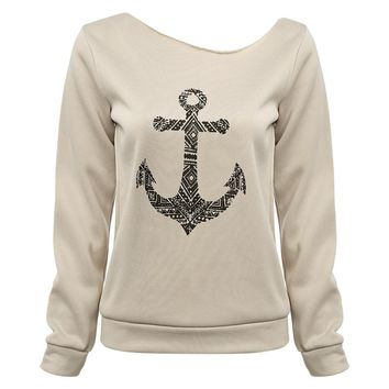 Trendy Long Sleeve  Anchor Pattern Print Pure Color T-shirt for Ladies