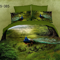 Cotton Bedding Set 4pc bedding set 3D bedding set with peacock King / Queen Size Bedding sets Luxury Bedding Linen Sets