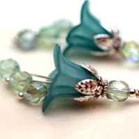 2 Piece Frosted Turquoise Green Lucite Flower with Czech and Silver Bead Drop Dangle Set