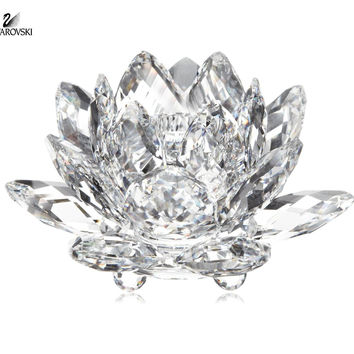 Swarovski Clear Crystal Figurine WATERLILY CANDLE HOLDER Medium #10001