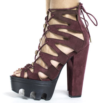 Vive64 Wine By Wild Diva, Cut Out Lace Up Ankle Wrap Lug Sole Platform Chunky Heels