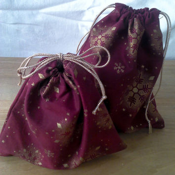 2 Fabric Gift Bags Gold Snowflakes on Burgundy Upcycled Reusable