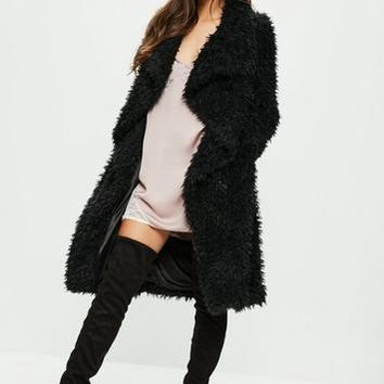Missguided - Black Longline Faux Fur Teddy Coat