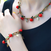 Cute Red Apples Necklace and Bracelet Set
