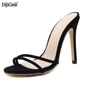 Woman shoes summer high heels slippers sexy high gladiator sandals vogue lacing up heeled sandals Big size 35-40 ladies shoes
