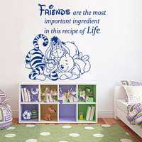 Winnie The Pooh Wall Decal Quote Friends Are The Most Important Vinyl Decals Mural Home Bedroom Interior Design Kids Baby Nursery Decor KY39