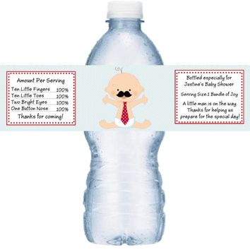 21 Mustache Little Man Baby Shower Water Bottle Labels