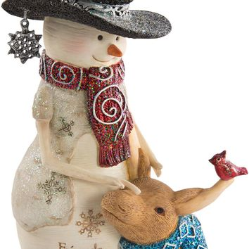 Friends are a blessing Snowman with Moose Figurine