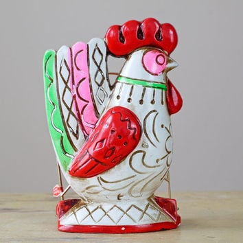 1960s Rooster Napkin Holder // 60s Kitsch Desk Caddy