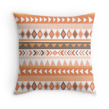 Tribal Pillow Cover, 16x16, 18x18, 20x20, Earthy Decor, Ethnic, Coral, Brown
