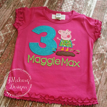 Peppa Pig Muddy Puddle Birthday Custom Tee Shirt - Customizable -  Infant to Youth