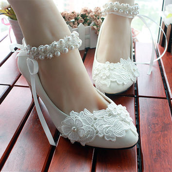 New  princess shoes lace manual white pearl  low with the bride bridesmaid shoes for women's shoes single wedding shoes