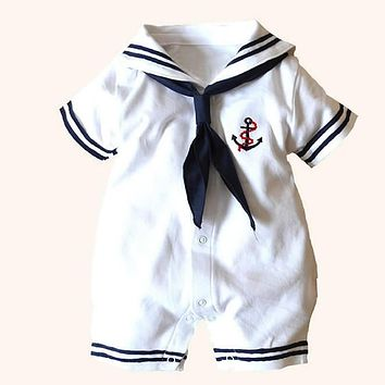 2018 Newborn baby clothes White Navy Sailor uniforms summer baby rompers Short sleeve one-pieces jumpsuit baby boy girl clothing