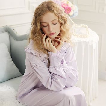 Free Shipping 2016 New Autumn 100% Cotton Princess Long Pyjamas Purple Nightgown Women's Vintage Sleepwear Ladies pijamas