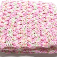 Crochet Baby Girl Blanket, Afghan, Crib size, Toddler